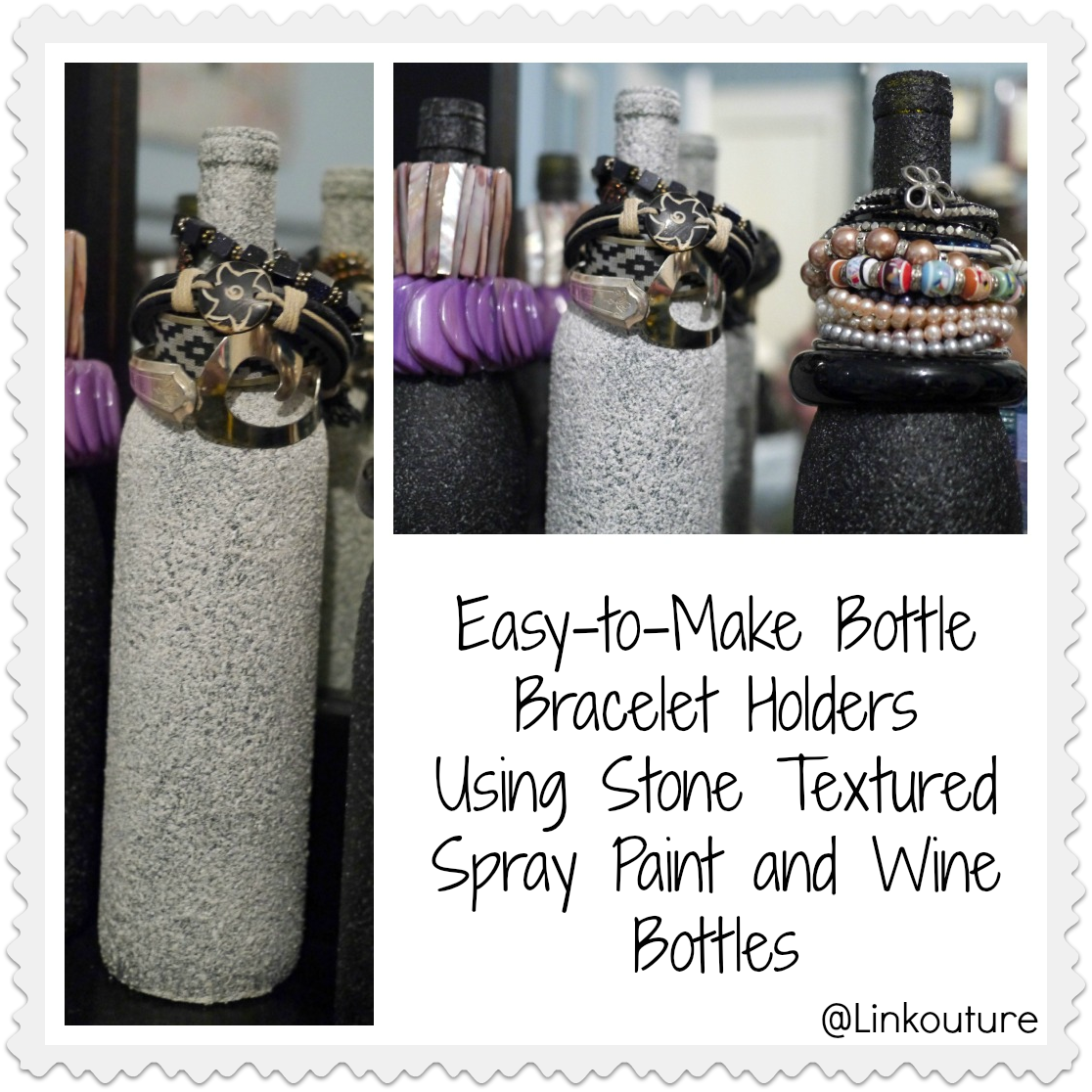 Fun with Stone Textured Spray Paint Part 1: Bottle Bracelet Holders