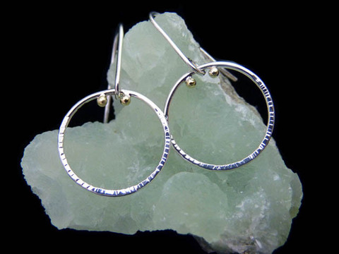 """""""Orbit"""" earrings: recycled Argentium sterling silver, recycled 18K green gold by Beryllina"""