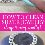 hand cleaning silver jewelry with sparkly silver bracelet below