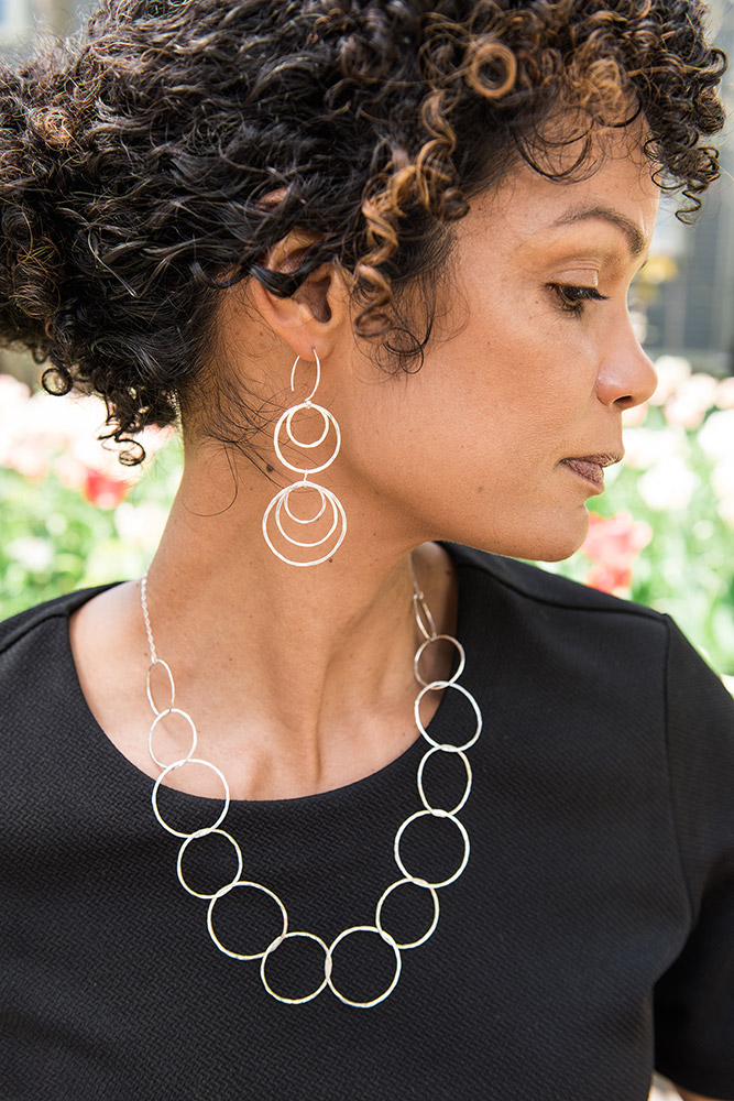 Linkouture sterling silver hammered earrings and necklace