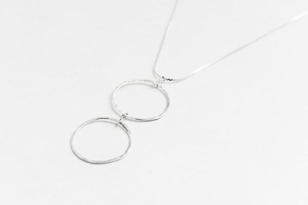 Sterling silver double hanging hoop necklace
