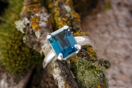 Blue topaz ring with sterling silver