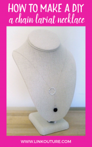 handmade chain lariat necklace on a white linen bust