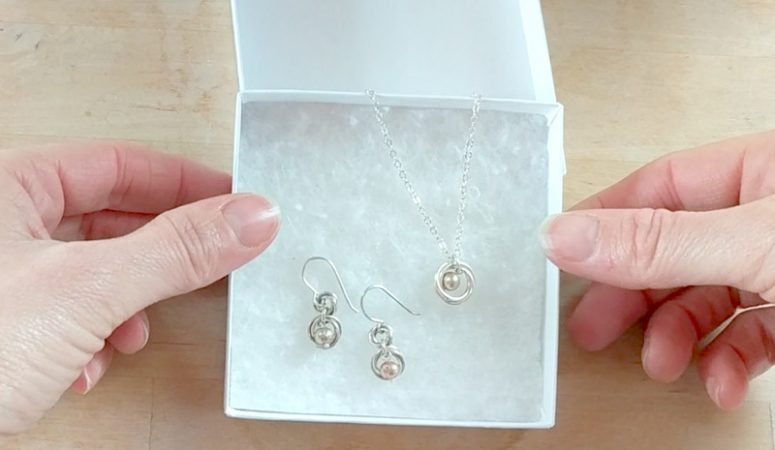DIY pearl necklace and earring set